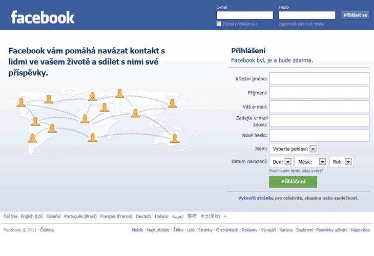 můj facebook přihlašovací stránka